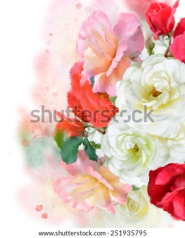 Digital Painting Of Colorful Roses - stock photo