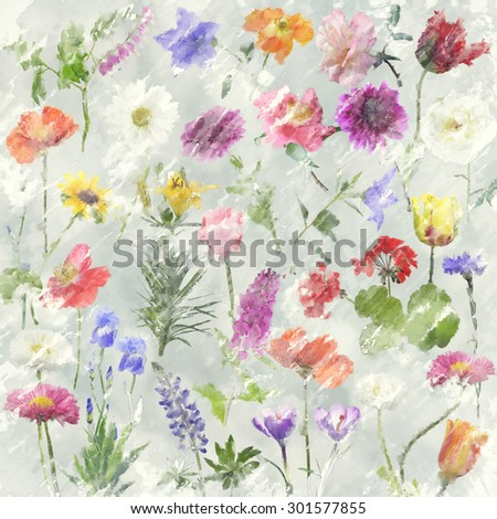 Digital Painting Of Flowers For Background - stock photo