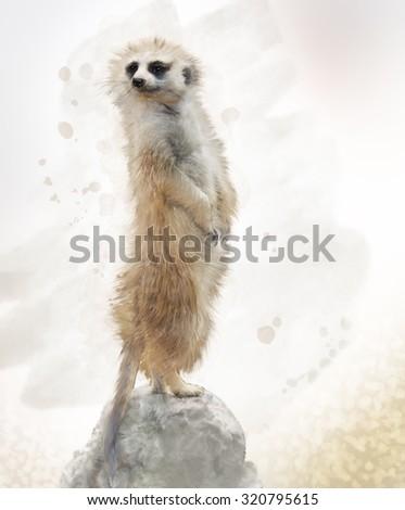 Digital Painting of Meerkat on a Rock - stock photo