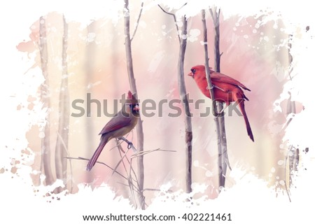 Digital Painting of  Northern Cardinals Perching on a Branch - stock photo