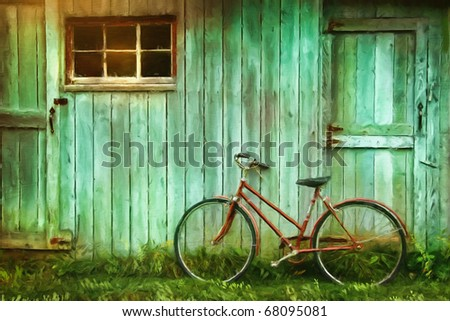 Digital Painting of old bicycle  against grungy barn - stock photo