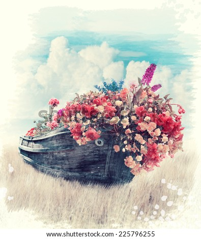 Digital Painting Of Old Boat With Flowers - stock photo