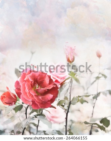 Digital Painting Of Red Roses - stock photo