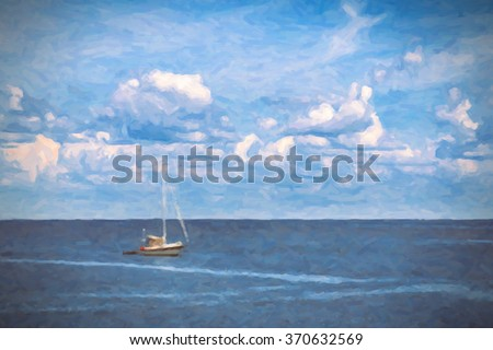 Digital Painting of single lonely sailboat on blue ocean sea with white fluffy clouds in clear blue sky looking restful relaxing calm isolated secluded private - stock photo