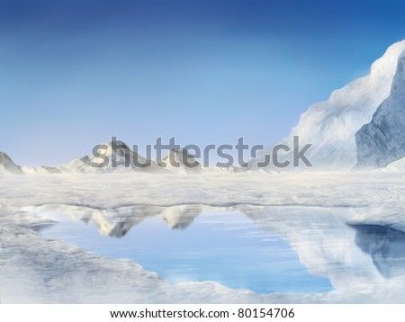 digital painting of snow covered mountains reflected in a frozen lake - stock photo