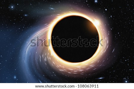 digital painting of space being distorted by a giant black hole - stock photo