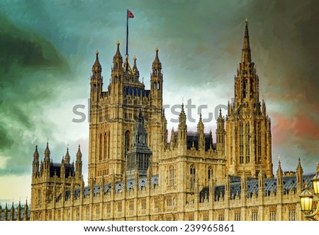 Digital painting of the House of Parliament, London, UK - stock photo