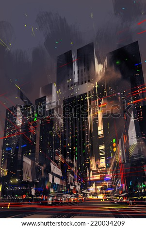 digital painting of the light trails on the modern building background  - stock photo