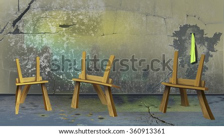 Digital painting of the Three easel near a dirty wall