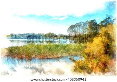 Digital Painting of View across the  placid lake Manuwai in Northland , New Zealand  against a backdrop of trees and a blue sky filled with clouds