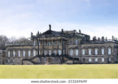 Digital painting of Wentworth Woodhouse country house, a Grade 1 listed building, in the village of Wentworth, South Yorkshire, England, UK. (Painted using the art history brush in Photoshop) - stock photo