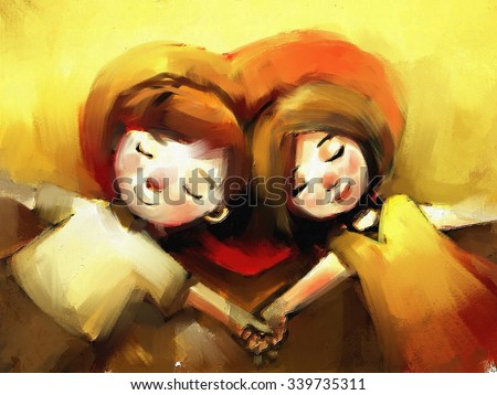 digital painting of young couple sleeping with heart shaped pillow, oil on canvas texture