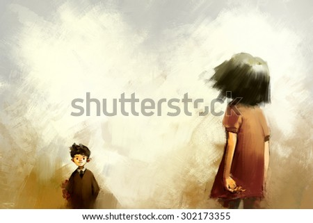 digital painting of Young couple standing in the meadow, oil on canvas texture - stock photo