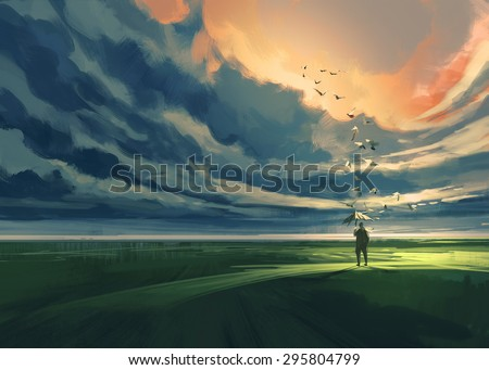 digital painting showing a man holding an umbrella standing alone in the meadow watching at the cloudy horizon - stock photo