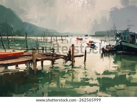 digital painting showing fishing boats at harbor - stock photo