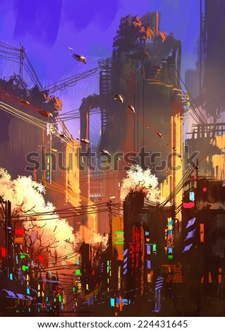 digital painting showing futuristic sci-fi city at sunrise - stock photo