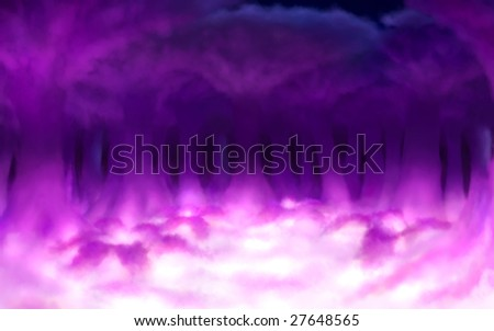 Digital painting - surreal clouds with shape of trees and ferns, magic light. - stock photo