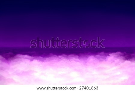Digital painting - surreal light in purple clouds. - stock photo