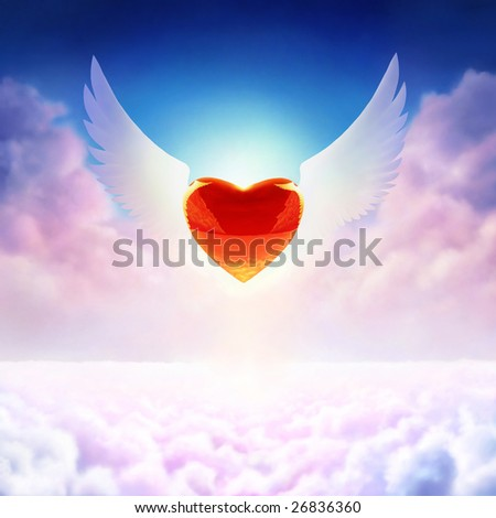 Digital painting - winged heart in sky - stock photo