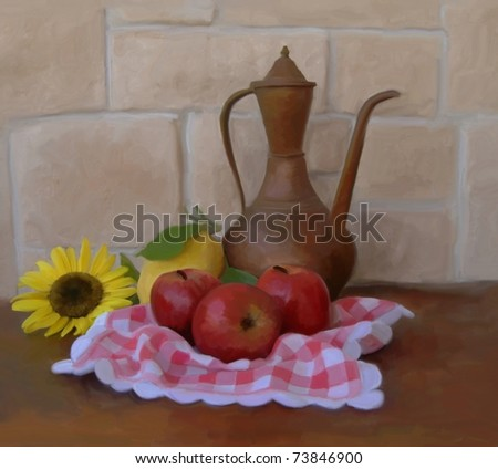 digital painting with red apples - stock photo