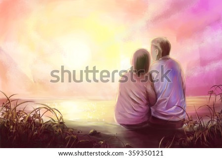 Digital painting,young couple in romantic scene with sunset - stock photo