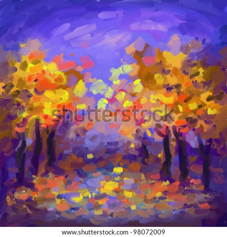 digital paintings of alley in the autumn, oil imitation - stock photo