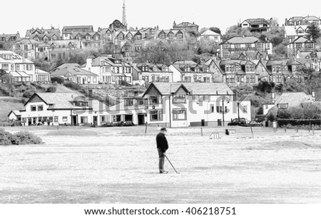 Digital pencil sketch from a photograph of golfer playing in front of the Clubhouse of West Kilbride Golf Club, an 18 hole links course located on the North Ayrshire Coast of Scotland - stock photo
