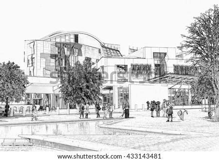Digital pencil sketch from a photograph of the exterior of the Scottish Parliament Building, Holyrood, Edinburgh, Scotland