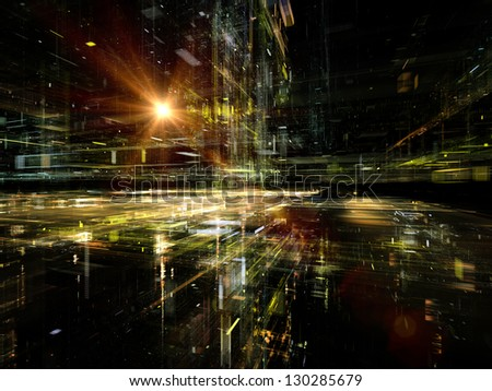 Digital Perspectives series. Abstract design made of light grids and fractal elements on the subject of business, science, education and technology - stock photo