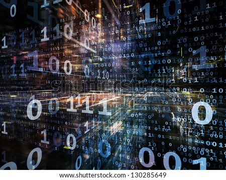 Digital Perspectives series. Abstract design made of numbers, light grids and fractal elements on the subject of business, science, education and technology - stock photo