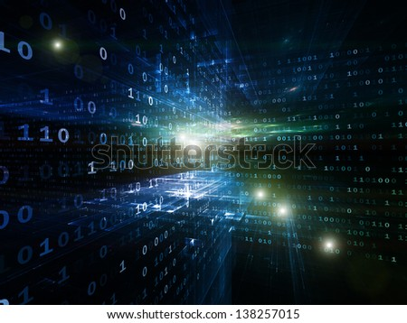 Digital Perspectives series. Composition of abstract grids and numbers on the subject of business, science, education and technology - stock photo