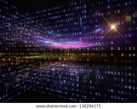 Digital Perspectives series. Composition of abstract grids and numbers with metaphorical relationship to business, science, education and technology - stock photo