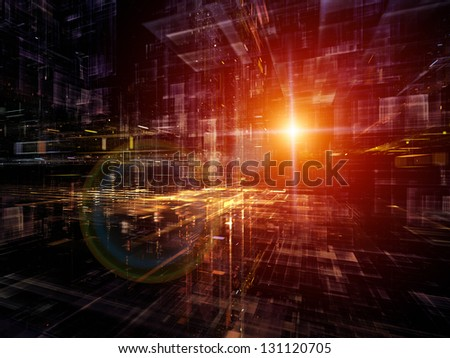 Digital Perspectives series. Creative arrangement of light grids and fractal elements to act as complimentary graphic for subject of business, science, education and technology - stock photo