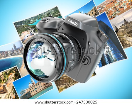 Digital photo camera on background from photographs. 3d - stock photo