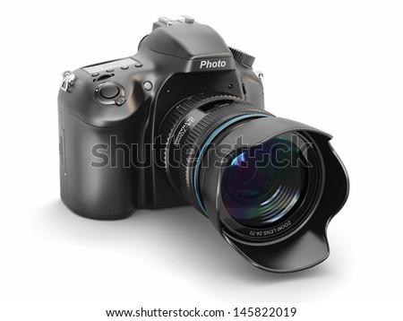 Digital photo camera on white isolated background.  3d - stock photo