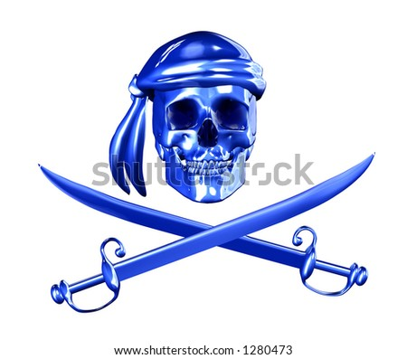 Digital Piracy - 3D render of a pirate skull with cross swords. - stock photo