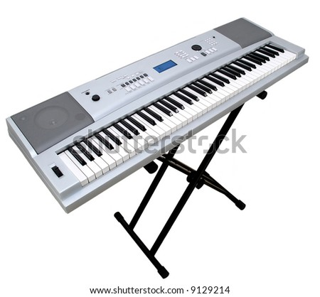 Digital portable 76 keys piano on stand isolated on white background