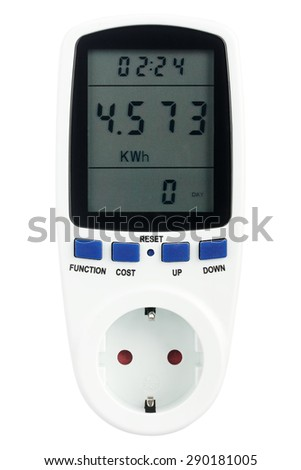 Digital portable power meter isolated on white background - stock photo