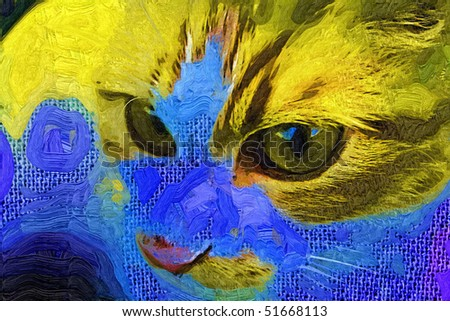 Digital portrait of  cat with nice painting effect and canvas texture . - stock photo