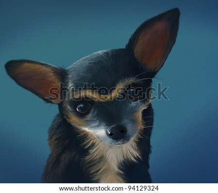 digital portrait painting of a Chihuahua dog - stock photo