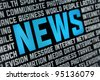 Digital poster with News headline and keywords on news theme. Selective focus on headline text. - stock photo
