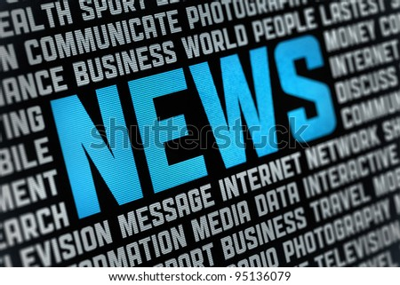 Digital poster with News headline and keywords on news theme. Selective focus on headline text. - stock photo