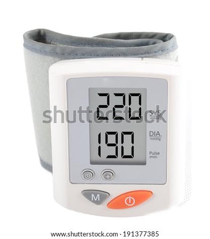 digital pressure gauge, pressure displays a message about high pressure - stock photo