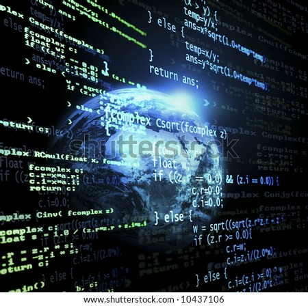 Digital program code with a earth globe background - stock photo