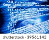 Digital program code with a earth globe background. All the code is from a real website of my own. - stock photo
