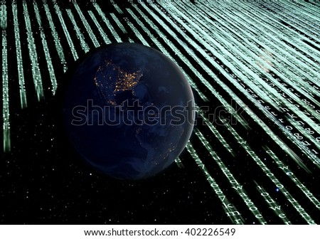"Digital program code with a earth globe background ""Elements of this image furnished by NASA "" - stock photo"