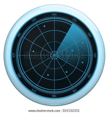 Digital Radar screen button - stock photo