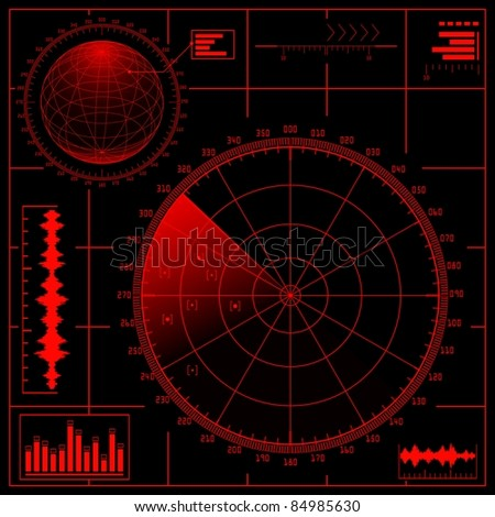 Digital Radar screen with globe. Raster version of the illustration. - stock photo