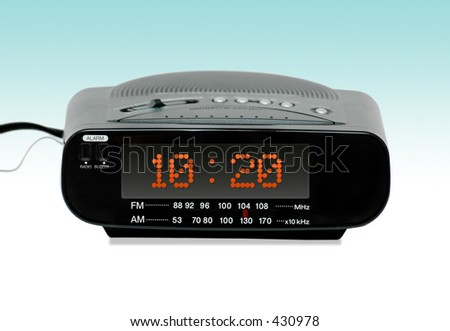 Digital Radio alarm clock -Gradient background - stock photo