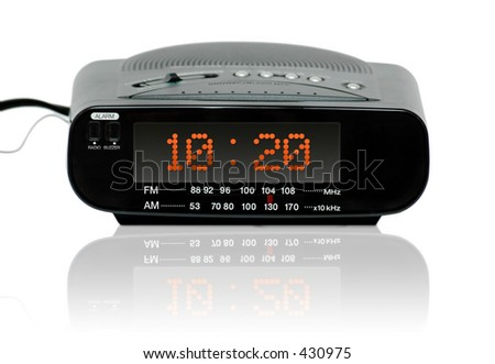 Digital Radio alarm clock -Reflection - stock photo